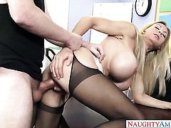Brooke Tyler with massive hooters and clean cunt enjoys another hardcore session with Dane Cross