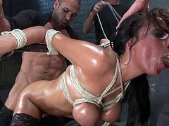 Visit official Bound Gangbangs's HomepageSlutty Anissa Kate feels amazing with so many cocks ready to devour her wet holes in a kinky bondage gang bang scene