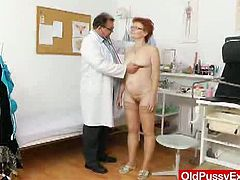 See how this pervert doctor examine this old granny's big cunt as he uses a series of his kinky sex toys to examine it thoroughly for his bizarre fetishes.