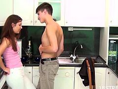 Alluring teen finally give in into her boyfriend wanting her to fuck her in doggystyle in the kitchen. Love the curve of her body and her seductive looks and sweet moans coming out from her.