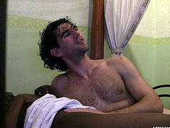 A horny white tourist wanna explore the beauties, met in his tour in Africa. Click to watch an ebony slutty lady, giving in to the lusty man in his room. She is completely naked and exposes her nice ass to the camera. Her small appetizing tits are just yummy! See the guy oiling her perfect ass.