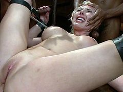 Visit official Bound Gangbangs's HomepageBlonde pornstar sure likes being tied up in bondage scene while having these guys sliding their cocks in her tight holes
