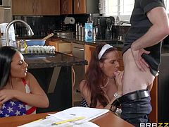 MILF Syren De Mer is a sex pro that shares her experience with her sweet raven haired step-daughter Gianna Nicole. They share Brick Dangers nice beefy sausage in the kitchen.