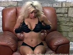 Blonde slut Nicole getting kinky as she loves leathers and would love to use her leather gloves to start rubbing and fondling her tight shaved pussy to orgasm.