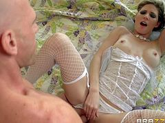 Beautifully dressed skinny bride Jenni Lee with long legs and firm boobs pulls her virgin white panties aside to to photographers stiff cock in her pink fuck hole. She juts cant wait to be fucked!