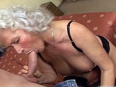 Your favorite granny slut is back, in this exclusive fuck scene Wanda gets her old saggy meat curtains pounded by overweight fat man on the sofa. Then Marinoka gets down on her knees and sucks fat guys small cock, until getting a sloppy facial.