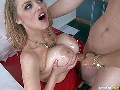 Katie Kox is a sex hungry babe with huge tits, He licks her snatch and bangs her massive melons during working hours at the restaurant. He makes busty moms sex fantasies come true.