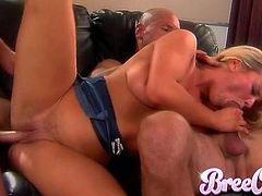 Bree Olson gives blowjob and gets cunt pounded in MMF threesome