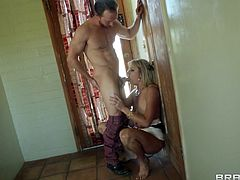 Marvelous cougar with fake tits giving her horny gentleman blowjob before moaning while being feasted hardcore doggystyle