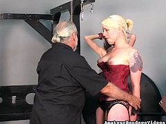 Old master punishes sex appeal babes wearing red corset and stockings