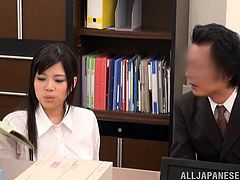 Some women can do anything it takes, to climb up the professional ladder. This little Japanese whore is exactly like that. She doesn't mind sucking dicks. Infact, she has a thing for them. That's because the more dicks she sucks, the more promotions she gets. Watch her swallow her boss's penis, as the office nears the bonus period.