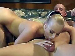 Sharon Wild gets cum in mouth after sucking dick and getting banged