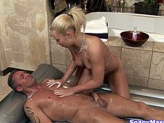 blonde babe gives hot massage