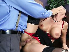 Syren De Mer takes it in her back swing after Ramons cock becomes stiff and hard