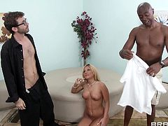 Interracial group sex with big dick guys fucking busty babes