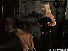 Blonde with big knockers is too horny to resist Adriana Russos slit and gives it a lick