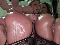 Jada Stevens and Sheena Shaw get their wet big butts drilled