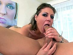 Velicity Von gives balls deep blowjob to Jack Hammer