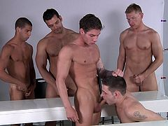 Marcus, Alex, Vance, Duncan and Tommy know what it takes to have a great sex-filled night. That's why they chose a classroom, to start a hot role play. Watch these hot boys go completely crazy with desire, as they jump on each other to have the best sex of their lives. These hot boys are sucking each other's dicks and having as much fun, as they can.