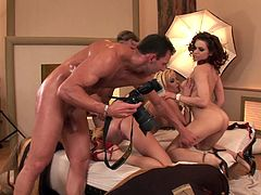Foursome fuck scene with two classy lingerie babes