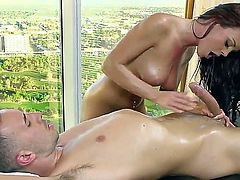 Slutty masseuse Rahyndee James with perfect natural boobs