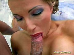 horny busty Milf doing her first extreme deepthroat gagging