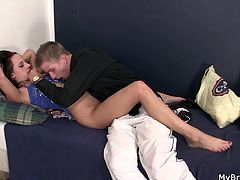 Younger brother found the opportunity to see his brother's sexy girlfriend with no panties and wouldn't waste time as he started to make out with her and fucking her sweet cunt.