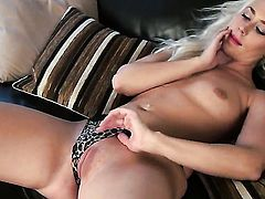 Charlotte Elizabeth with tiny tities and hairless muff has dildo-hungry snatch