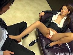 The atmosphere in the office suddenly improves in a better way, as the hot Japanese wants to take a break from the exhausting work. See the slutty babe using a vibrator, to get aroused. Her activity attracts a horny guy, that feels pleased to watch her. The lusty lady begins an incredible feet job.
