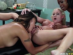Regular massage turns into an incredibly sexy lesbian threesome