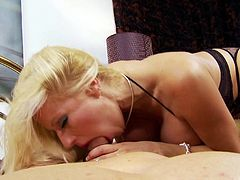 Pro blonde big tit MILF sitting on top of a hard dick