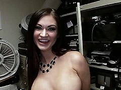 Lovely completely naked brunette Kendall Karson with sexy ass and nice fake boobs flaunts her assets before she gets down on her knees to give blow job. She sucks dick hungrily in the back room.