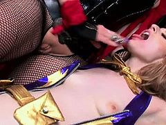 Ela Darling and Nicki Hunter give us the lesbian sex spin on the old ''superhero held captive'' scene, in this 26 minute video. The bad girl doesn't want to do away with her heroic nemesis... she just wants to do her! Our hero finds herself all tied up and seduced into a long moment of complete surrender - Ela does more than simply sleep with the enemy, in Tanya Tate's Cosplay Queens and Tied Up Teens!
