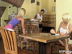 Three horny lesbians have an addiction to pissing. Their fetish is very exciting and they do it whenever they get the occasion. The kitchen seems to be a perfect place for sexy Paula, naughty Noleta and the slutty milf, Lena, to get dirty. Click to watch the girls, showing off their asses and pussies!