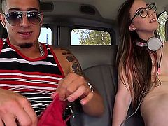 Flat chested cute brunette Charlie Stevens takes off her white lace panties and shows her trimmed pussy before giving head. Totally naked girl with glasses gives nice blowjob in a car.