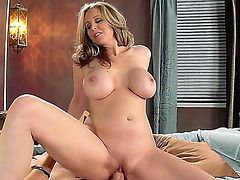Sexy bodied big tittty milf Julia Ann strips down to her bare skin in front of Xander Corvus and then takes his stiff cock up her pink neatly shaved pussy. Watch hot buxom mom ride dick like crazy!