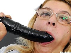 If mature nurses present any interest for you, click to check out a blonde-haired lady, wearing eye glasses and high heels. The camera catches closeups of her horny hairy pussy, while the bitch is sitting comfortably on the gynochair with legs widely spread. Watch the lusty milf masturbating with a dildo.