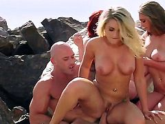 Mary Jane Mayhem, Brooke Wylde, and Chloe Addison are all hot, busty and love outdoorsex. Redhead, blonde and brunette show off their massive tits as they ride stiff dick under the open sky.