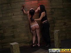 Lesbians can get pretty wild and the three bitches in the video, are very fond of bdsm activities. Click to watch a brunette babe, being punished in a harsh way, for being such a slutty bitch. Lexy has her hands in shackles. The dominant bitches makes her suck a dildo and then, penetrates her pussy with a big one.