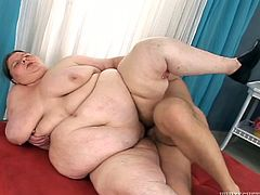 Ugly chubby whore plays with dick and gets her fat pussy finger fucked
