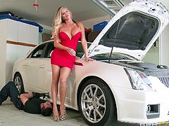 When she goes to check on her car in the shop she is happy to see her crush there. She has dressed up really sexy just for him. Her alluring body makes him horny and before long he is down on the ground and she is sitting on his face!