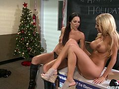 Sexy blonde Alicia Secrets has lesbian sex with Kirsten Price