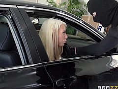 In their way back home, a couple is attacked by a masked man, who asks them to stop. The horny guy requests a blowjob. The blonde tattooed wife has to obey and sucks his dick through the window with passion. The slutty milf with fascinating tits looks grateful and enjoys being fucked in the ass from behind.