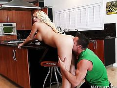 Kagney Linn Karter with juicy melons and shaved muff gets turned on then fucked by Johnny Castle