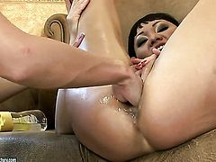 Brunette gives herself some vagina stimulation with the help of her fingers