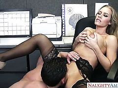 Asian Nicole Aniston with gigantic knockers and bald beaver offers her muff to Seth Gamble