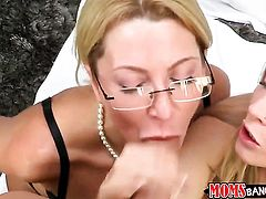 Blonde with huge knockers and shaved pussy and Jennifer Best shows it all and then fondle each other