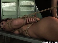 Brunette Mandy Bright with big melons and Hadjara have lesbian sex session of their lifetime