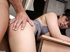 Brunette oriental wench Tigerr Benson with juicy breasts enjoying the earth moving anal fuck