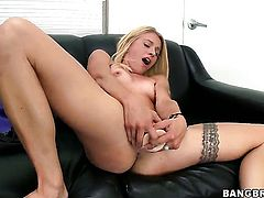 Cameron Canada with small boobs and clean muff with soaking wet honeypot goes solo